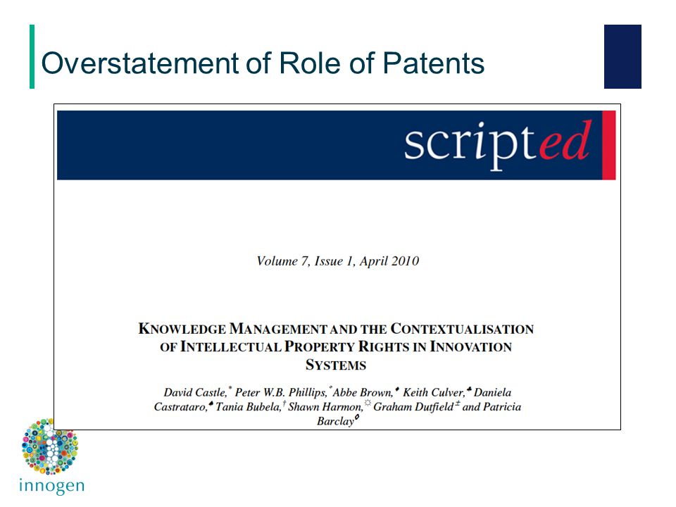 Overstatement of Role of Patents