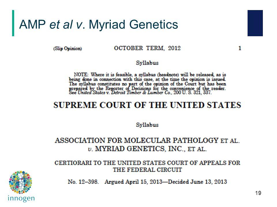 19 AMP et al v. Myriad Genetics