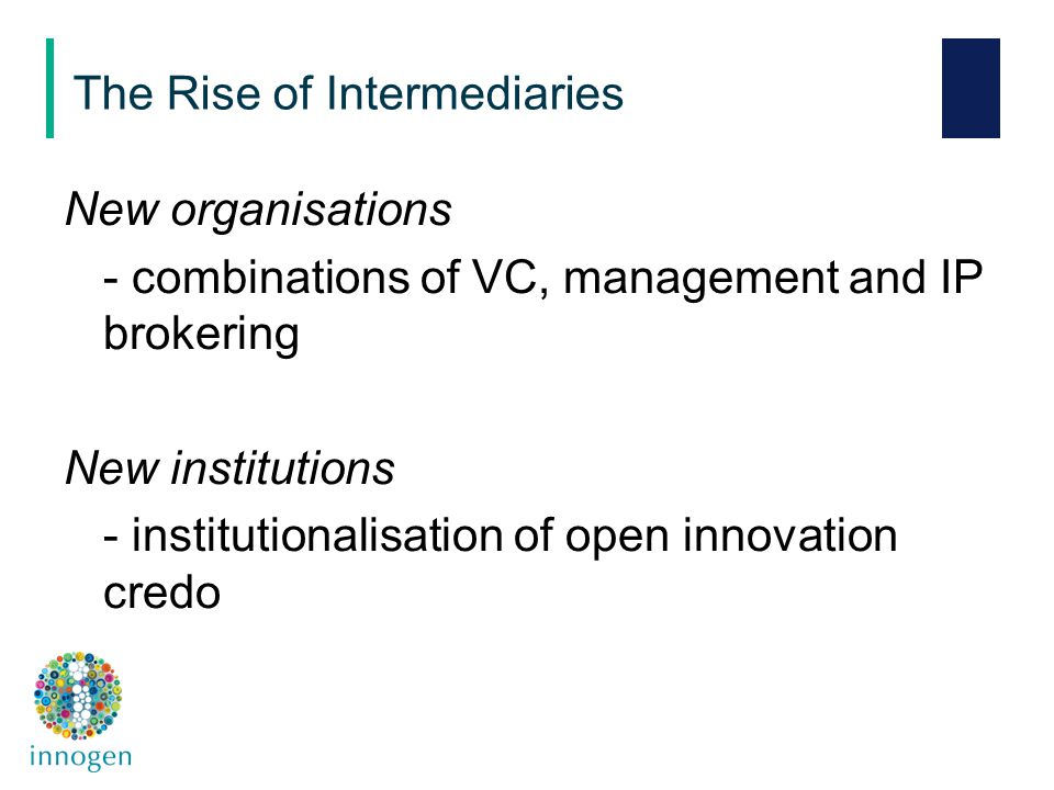 New organisations - combinations of VC, management and IP brokering New institutions - institutionalisation of open innovation credo The Rise of Inter