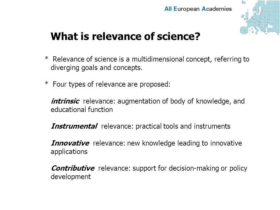 What is relevance of science.