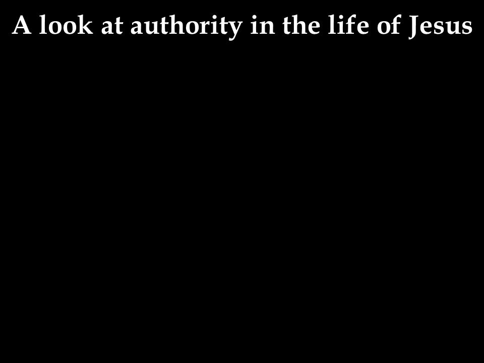 A look at authority in the life of Jesus