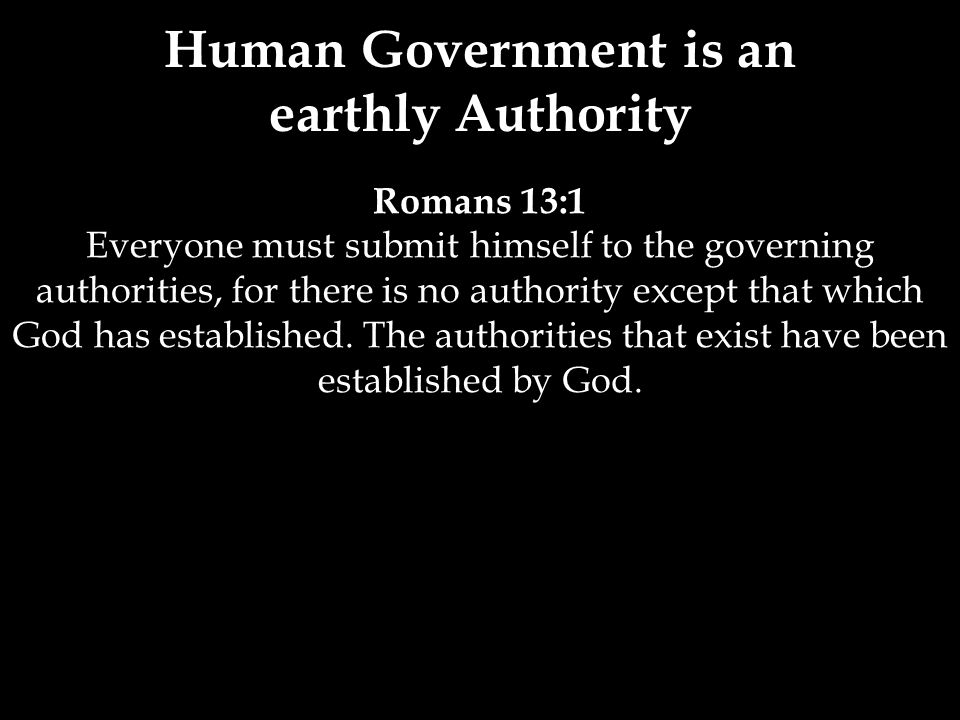 Romans 13:1 Everyone must submit himself to the governing authorities, for there is no authority except that which God has established.