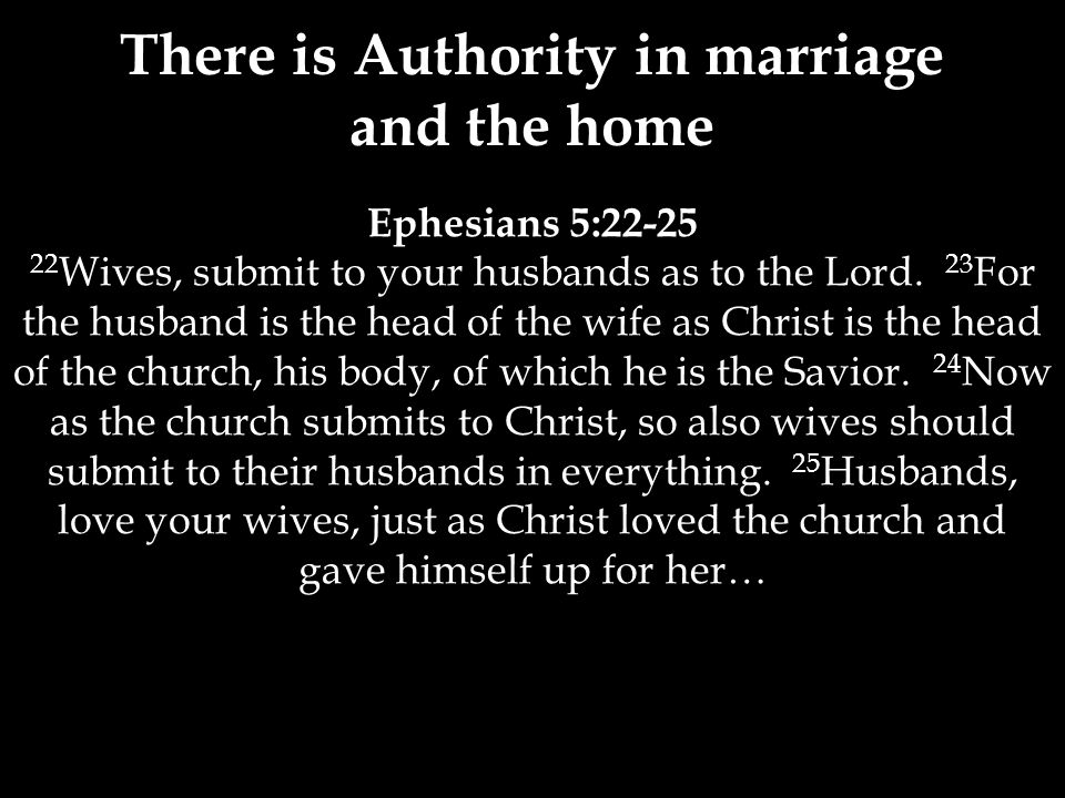 Ephesians 5:22-25 22 Wives, submit to your husbands as to the Lord.