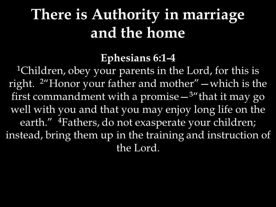 Ephesians 6:1-4 1 Children, obey your parents in the Lord, for this is right.