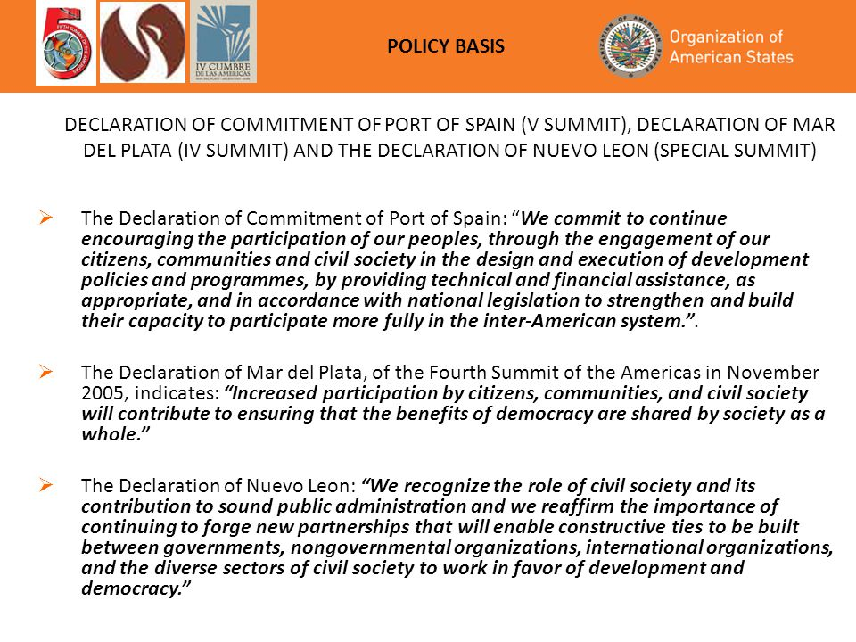 """ The Declaration of Commitment of Port of Spain: """"We commit to continue encouraging the participation of our peoples, through the engagement of our c"""