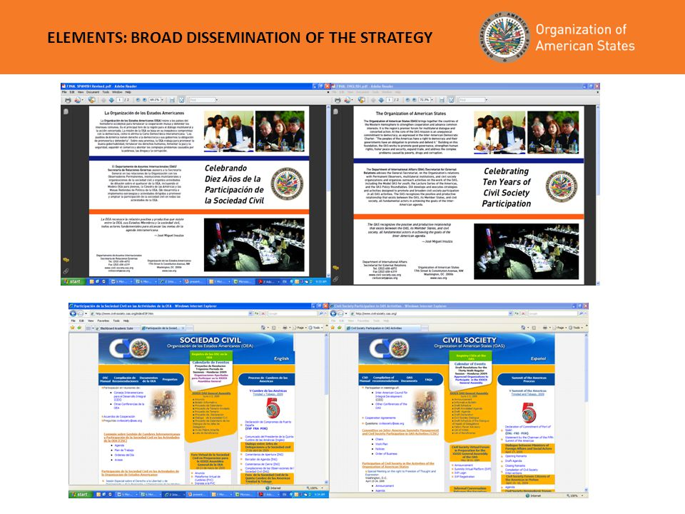 ELEMENTS: BROAD DISSEMINATION OF THE STRATEGY Registry of Civil Society Organizations within the Organization of American States (OAS) The following i