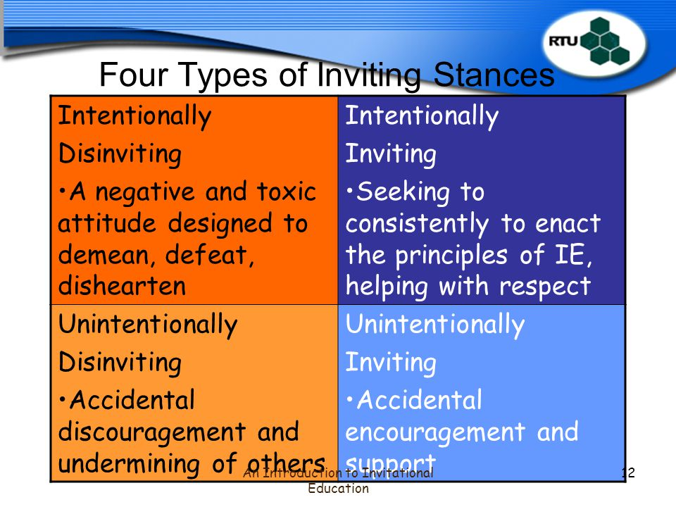 Four Types of Inviting Stances Intentionally Disinviting A negative and toxic attitude designed to demean, defeat, dishearten Intentionally Inviting Seeking to consistently to enact the principles of IE, helping with respect Unintentionally Disinviting Accidental discouragement and undermining of others Unintentionally Inviting Accidental encouragement and support An Introduction to Invitational Education 12
