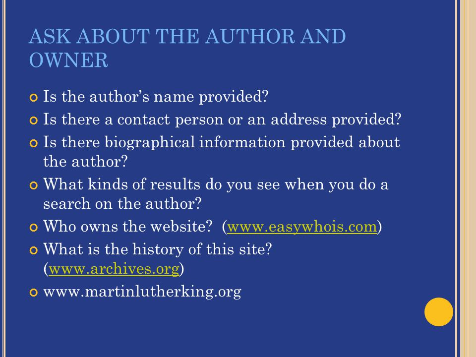 ASK ABOUT THE AUTHOR AND OWNER Is the author's name provided.