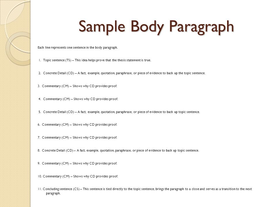 Sample Body Paragraph Each line represents one sentence in the body paragraph.