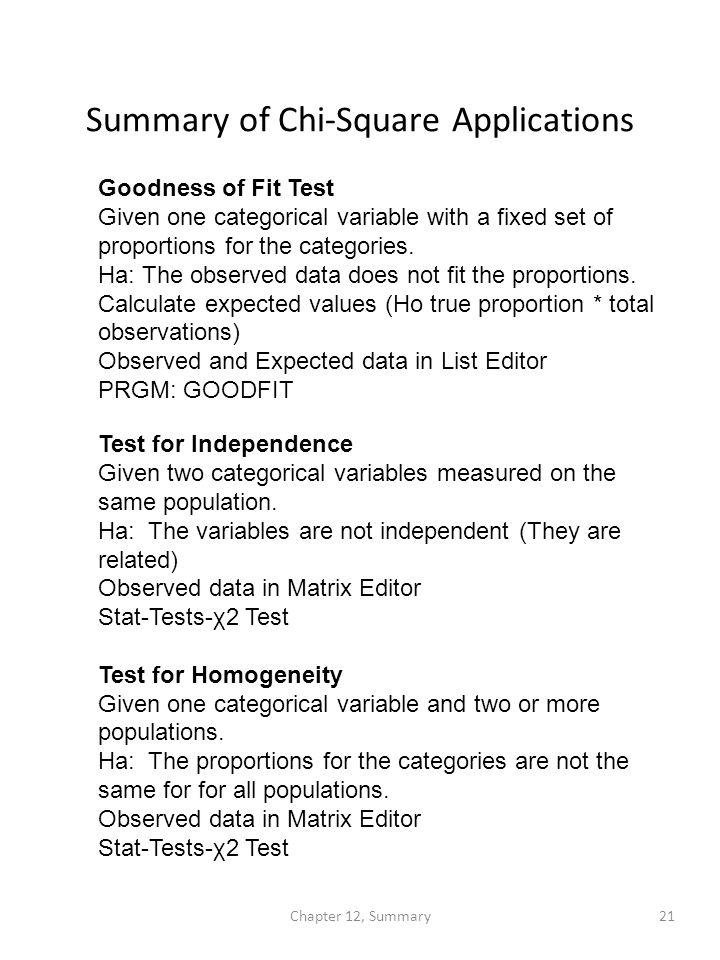 Summary of Chi-Square Applications Goodness of Fit Test Given one categorical variable with a fixed set of proportions for the categories.
