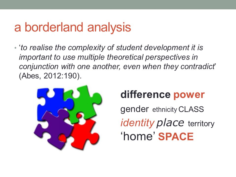 a borderland analysis 'to realise the complexity of student development it is important to use multiple theoretical perspectives in conjunction with one another, even when they contradict' (Abes, 2012:190).