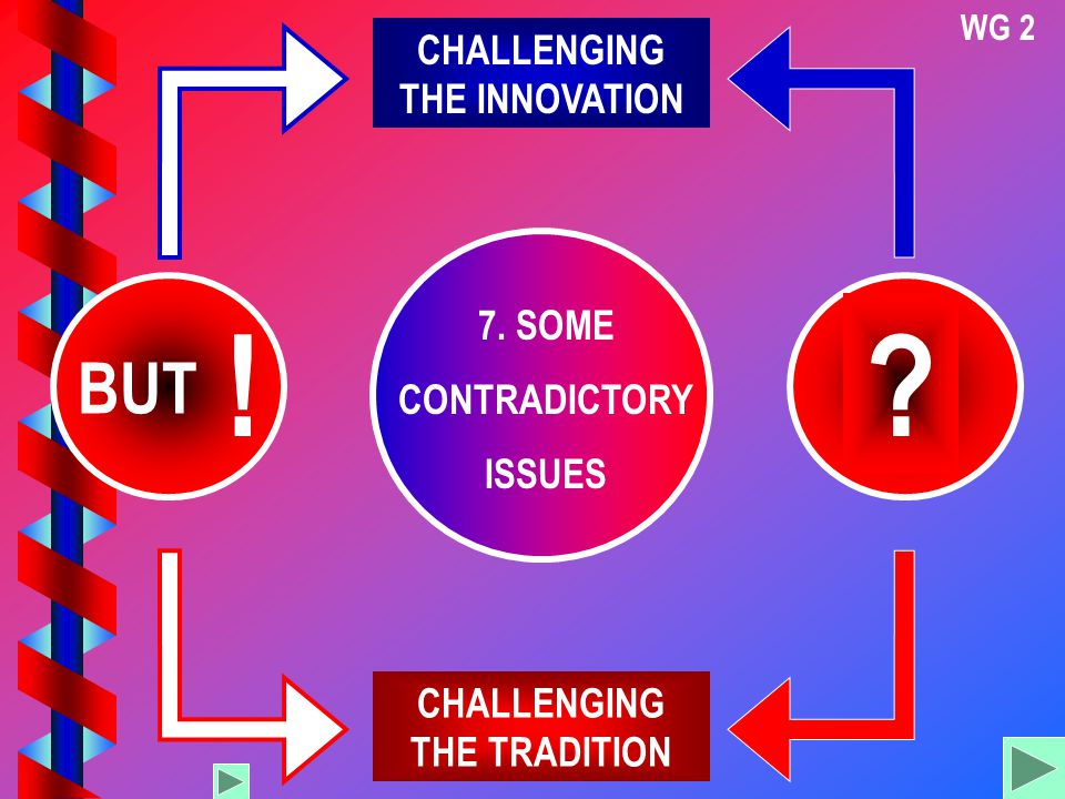 WG 2 7. SOME CONTRADICTORY ISSUES CHALLENGING THE INNOVATION CHALLENGING THE TRADITION ? BUT !