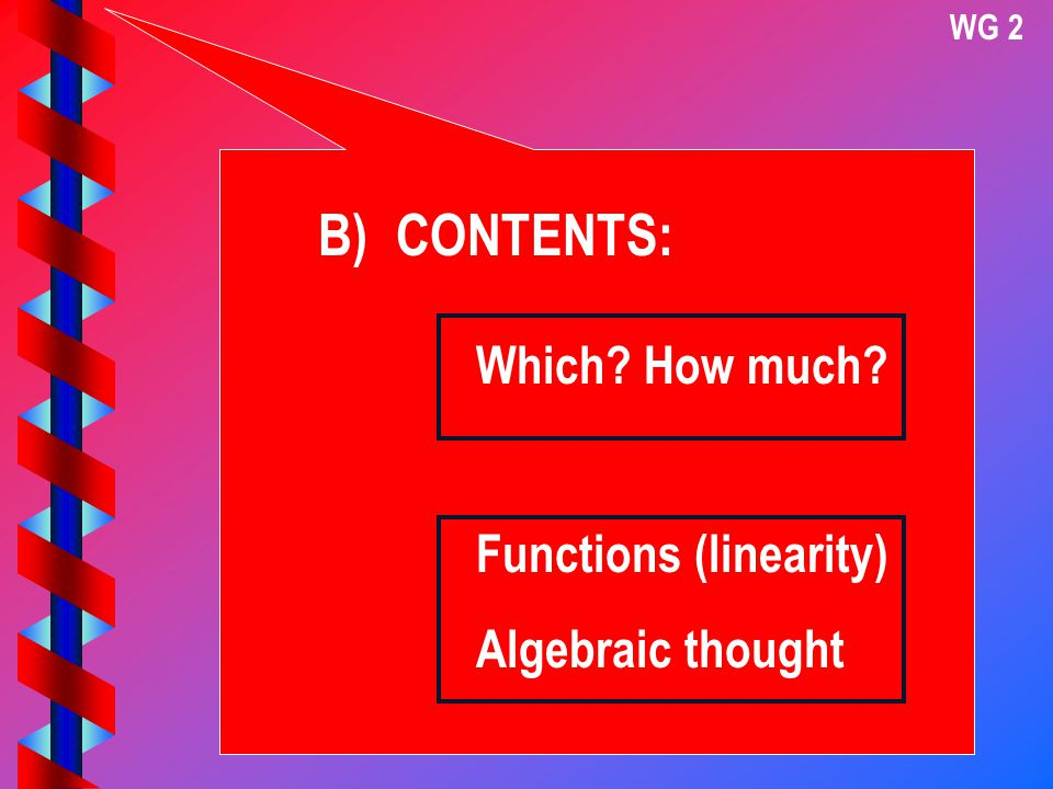WG 2 B) CONTENTS: Which? How much? Functions (linearity) Algebraic thought