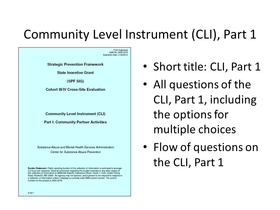 Community Level Instrument (CLI), Part 1 Short title: CLI, Part 1 All questions of the CLI, Part 1, including the options for multiple choices Flow of questions on the CLI, Part 1
