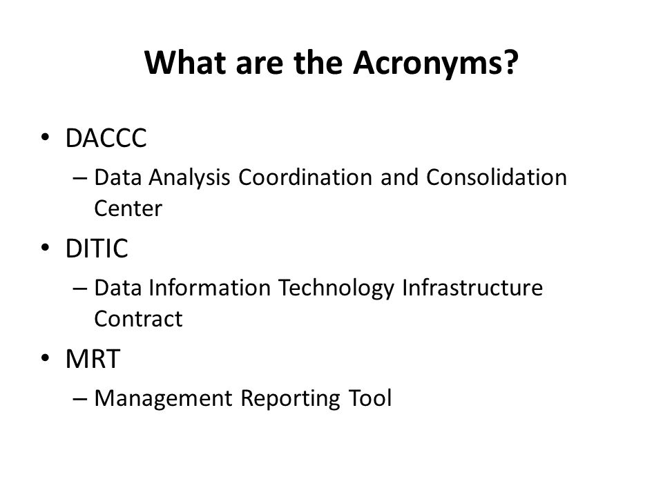What are the Acronyms.