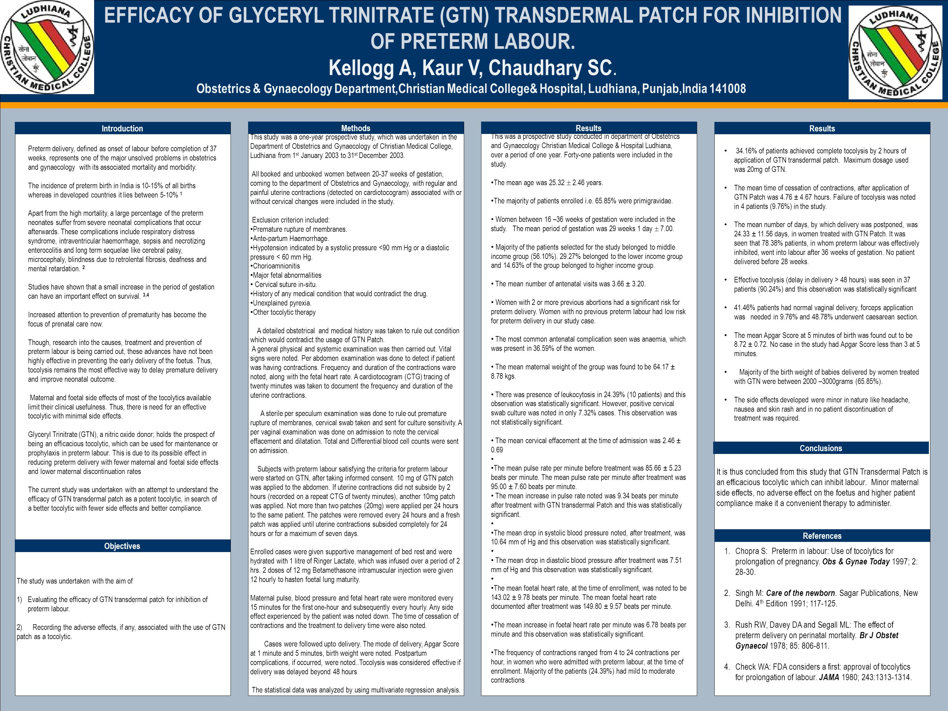 TEMPLATE DESIGN © 2008 www.PosterPresentations.com EFFICACY OF GLYCERYL TRINITRATE (GTN) TRANSDERMAL PATCH FOR INHIBITION OF PRETERM LABOUR.