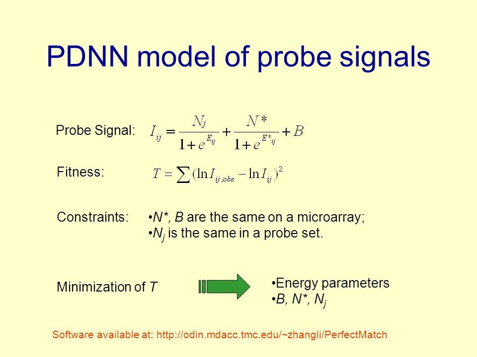 PDNN model of probe signals Minimization of T Energy parameters B, N*, N j N*, B are the same on a microarray; N j is the same in a probe set.