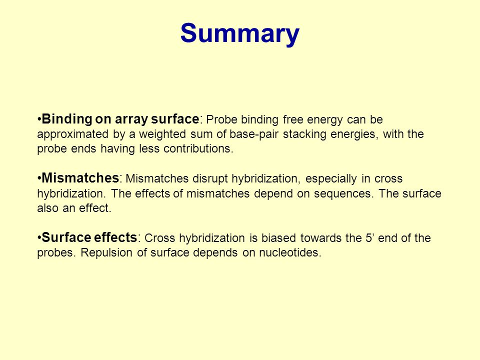Summary Binding on array surface: Probe binding free energy can be approximated by a weighted sum of base-pair stacking energies, with the probe ends having less contributions.