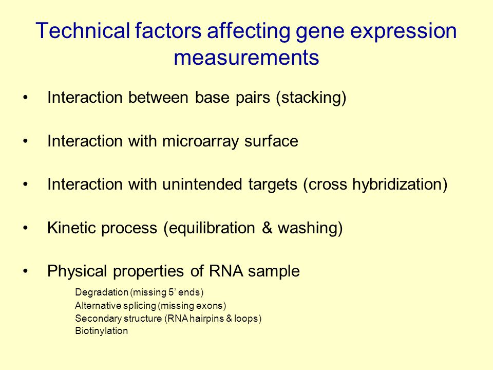 Technical factors affecting gene expression measurements Interaction between base pairs (stacking) Interaction with microarray surface Interaction with unintended targets (cross hybridization) Kinetic process (equilibration & washing) Physical properties of RNA sample Degradation (missing 5' ends) Alternative splicing (missing exons) Secondary structure (RNA hairpins & loops) Biotinylation