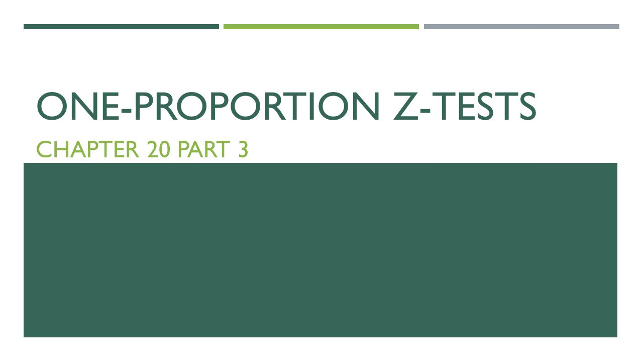 ONE-PROPORTION Z-TESTS CHAPTER 20 PART 3