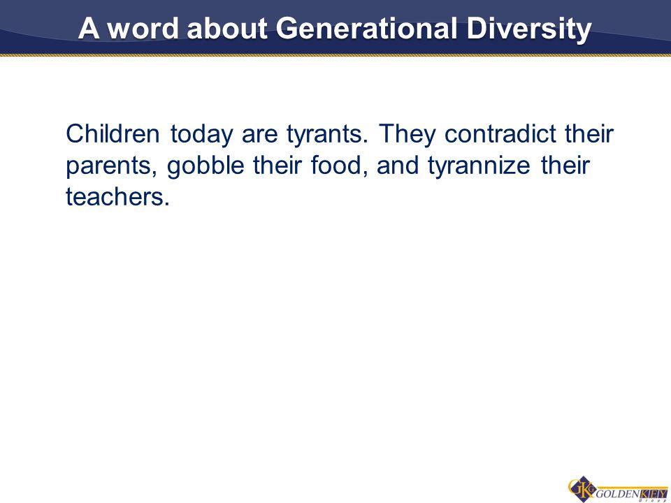 Children today are tyrants.