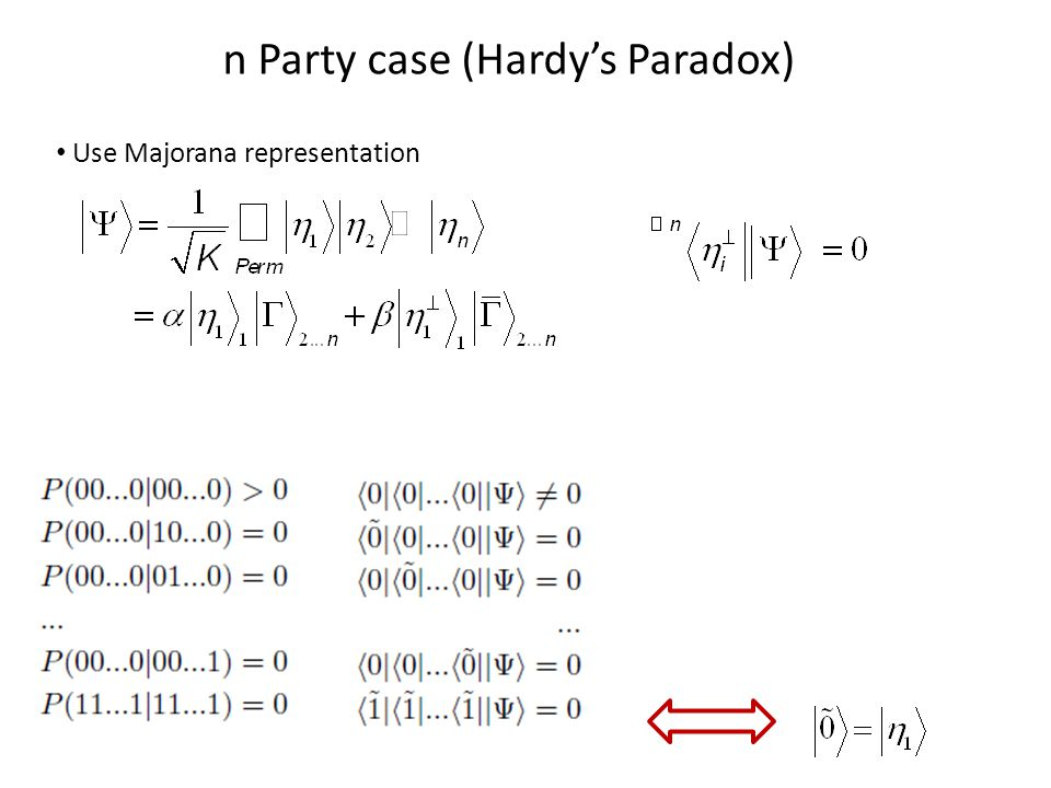 n Party case (Hardy's Paradox) Use Majorana representation