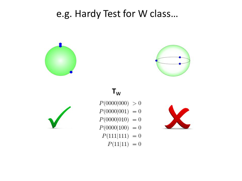 e.g. Hardy Test for W class… TWTW