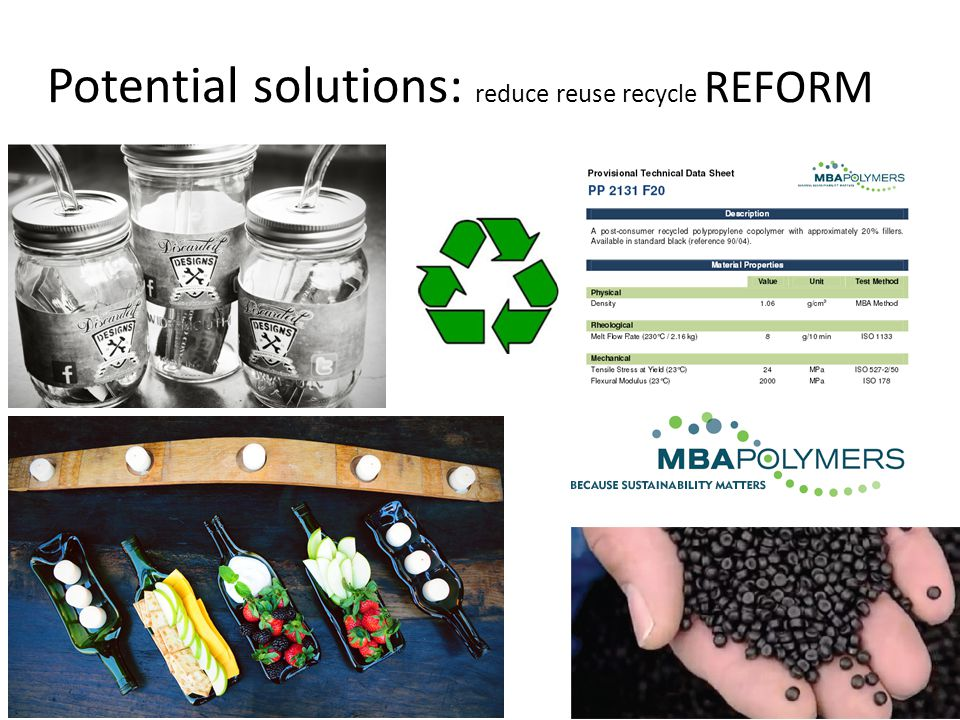 Potential solutions: reduce reuse recycle REFORM