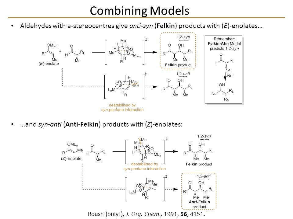 Combining Models Roush (only!), J. Org. Chem., 1991, 56, 4151.