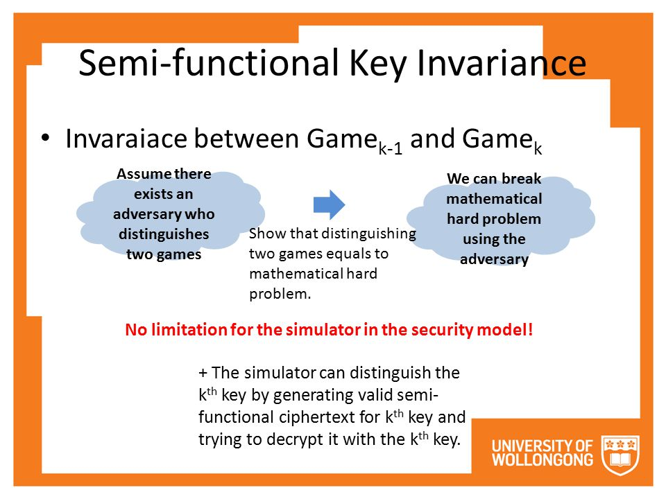 Semi-functional Key Invariance Assume there exists an adversary who distinguishes two games We can break mathematical hard problem using the adversary Show that distinguishing two games equals to mathematical hard problem.