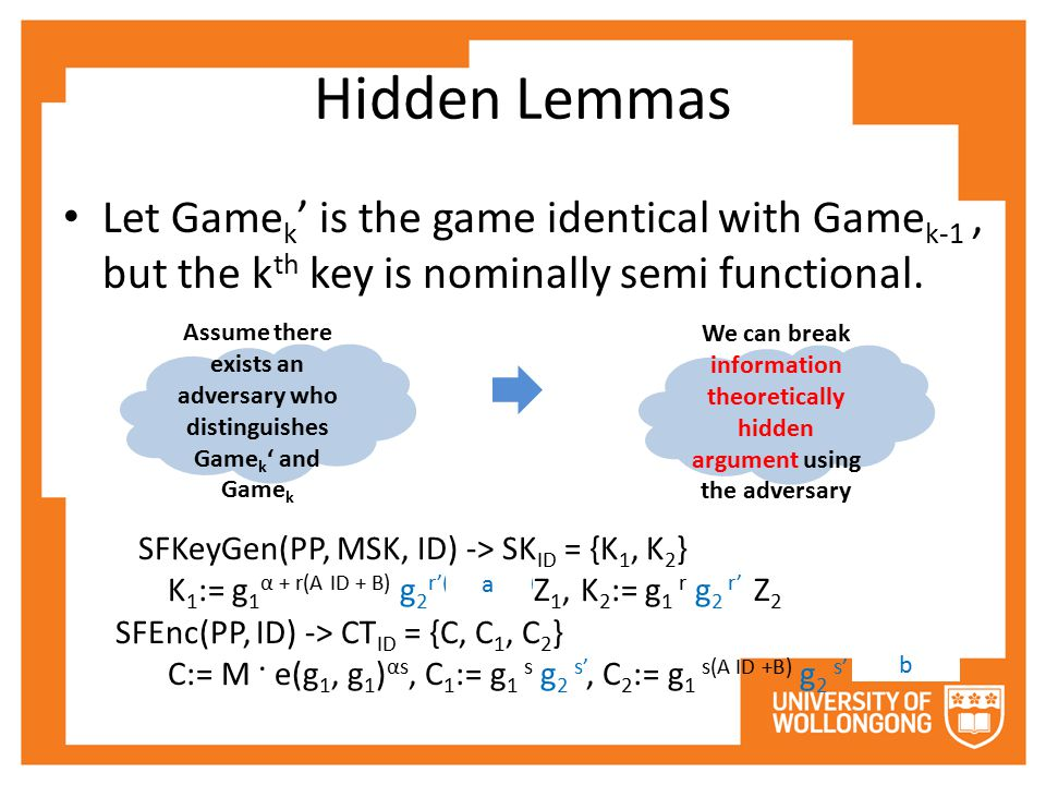 Hidden Lemmas Let Game k ' is the game identical with Game k-1, but the k th key is nominally semi functional. Assume there exists an adversary who di