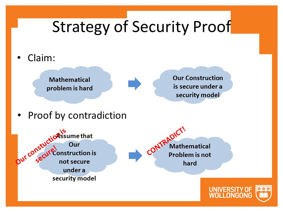 Strategy of Security Proof Claim: Proof by contradiction Mathematical problem is hard Our Construction is secure under a security model Assume that Our Construction is not secure under a security model Mathematical Problem is not hard CONTRADICT.