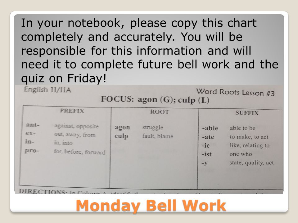 Monday Bell Work In your notebook, please copy this chart completely and accurately. You will be responsible for this information and will need it to