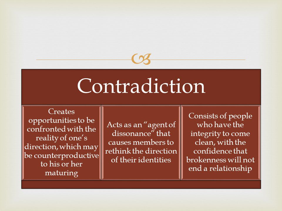  Contradiction Creates opportunities to be confronted with the reality of one's direction, which may be counterproductive to his or her maturing Acts