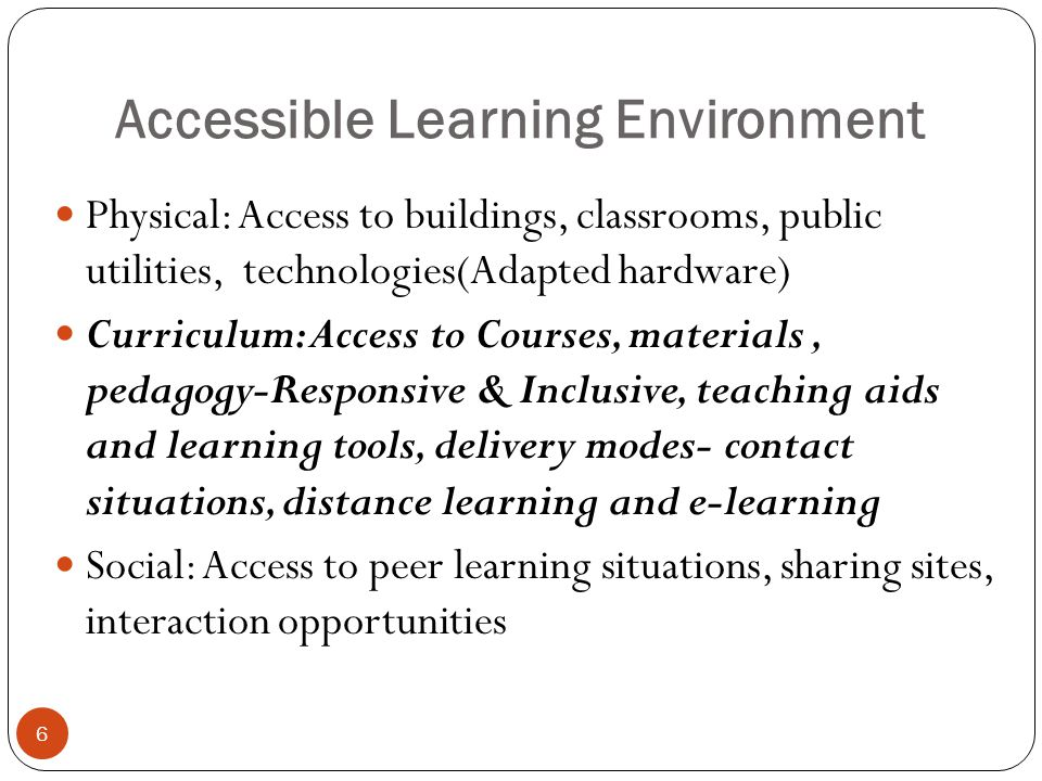 Programmes and Schemes: Exemplars 7 School Education: Sarva Shiksha Abhiyan (SSA),Inclusive Education for Disabled at Secondary Stage(IEDSS) Higher Education: Higher Education for Persons with Special Needs(HEPSEN), Teacher Preparation in Special Education (TEPSE), Enabling Units, Equal opportunity offices Besides all other Components of accessible Environment ICT Usage and applications is the Focus ICT Policy of GOI also addresses but in a generic way Assistance to Disabled persons Scheme(ADIP)
