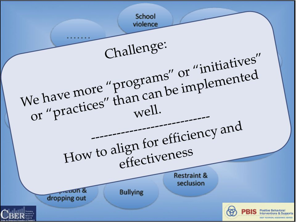 "Challenge: We have more ""programs"" or ""initiatives"" or ""practices"" than can be implemented well. ---------------------------- How to align for efficie"