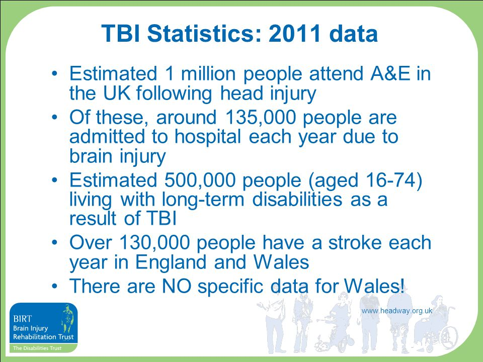 TBI Statistics: 2011 data Estimated 1 million people attend A&E in the UK following head injury Of these, around 135,000 people are admitted to hospit