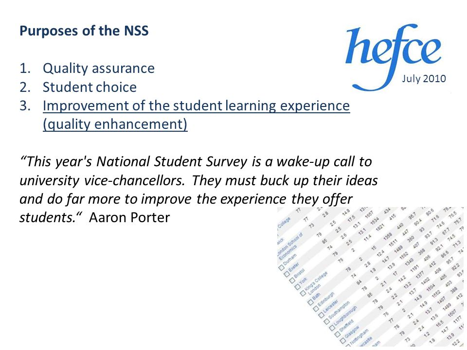Purposes of the NSS 1.Quality assurance 2.Student choice 3.Improvement of the student learning experience (quality enhancement) This year s National Student Survey is a wake-up call to university vice-chancellors.
