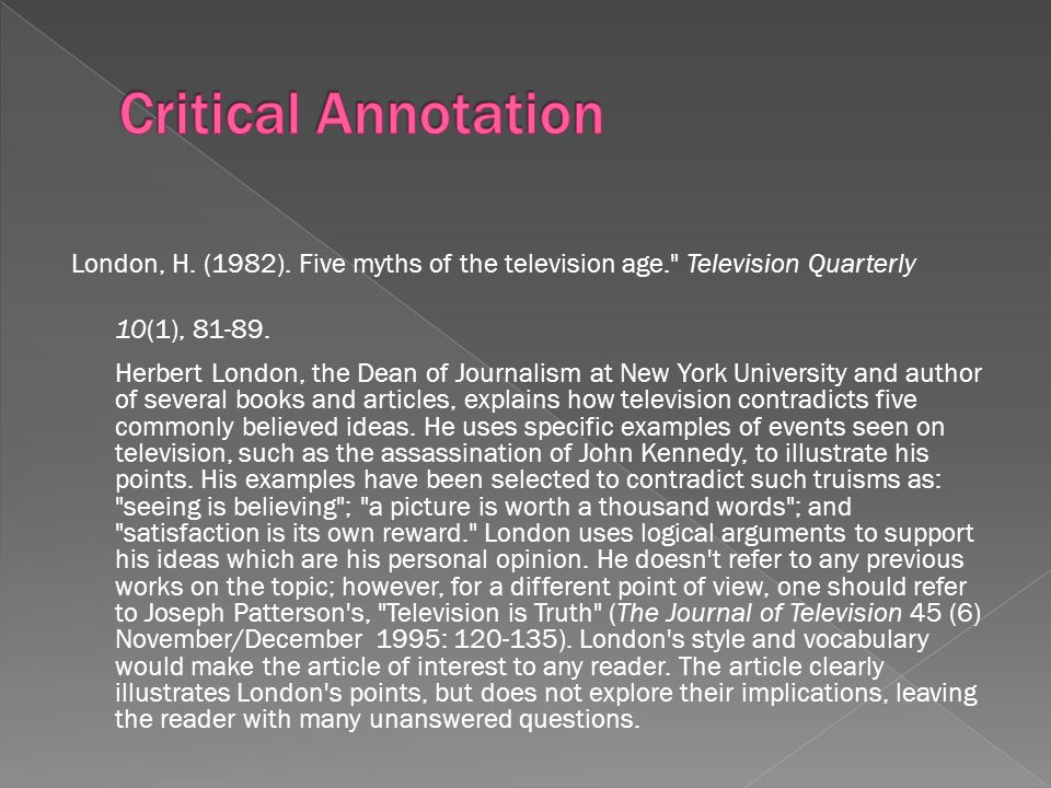 London, H. (1982). Five myths of the television age. Television Quarterly 10(1), 81-89.