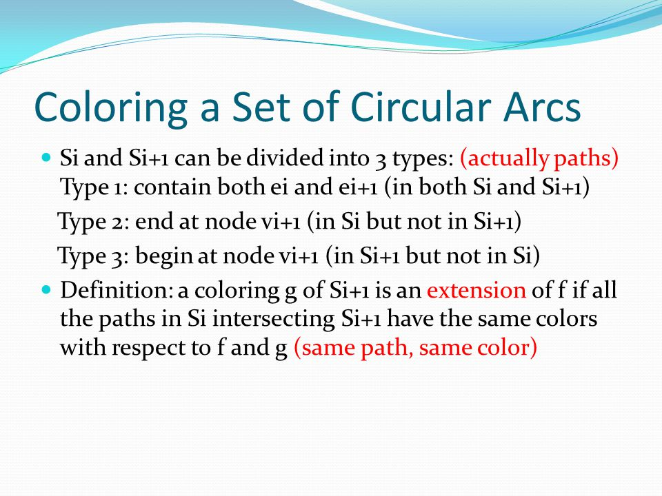 Coloring a Set of Circular Arcs Si and Si+1 can be divided into 3 types: (actually paths) Type 1: contain both ei and ei+1 (in both Si and Si+1) Type