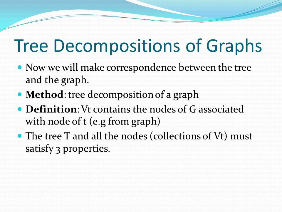 Tree Decompositions of Graphs Now we will make correspondence between the tree and the graph. Method: tree decomposition of a graph Definition: Vt con