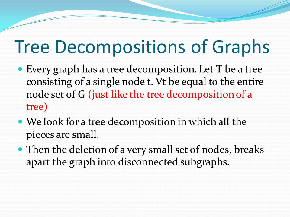 Tree Decompositions of Graphs Every graph has a tree decomposition.