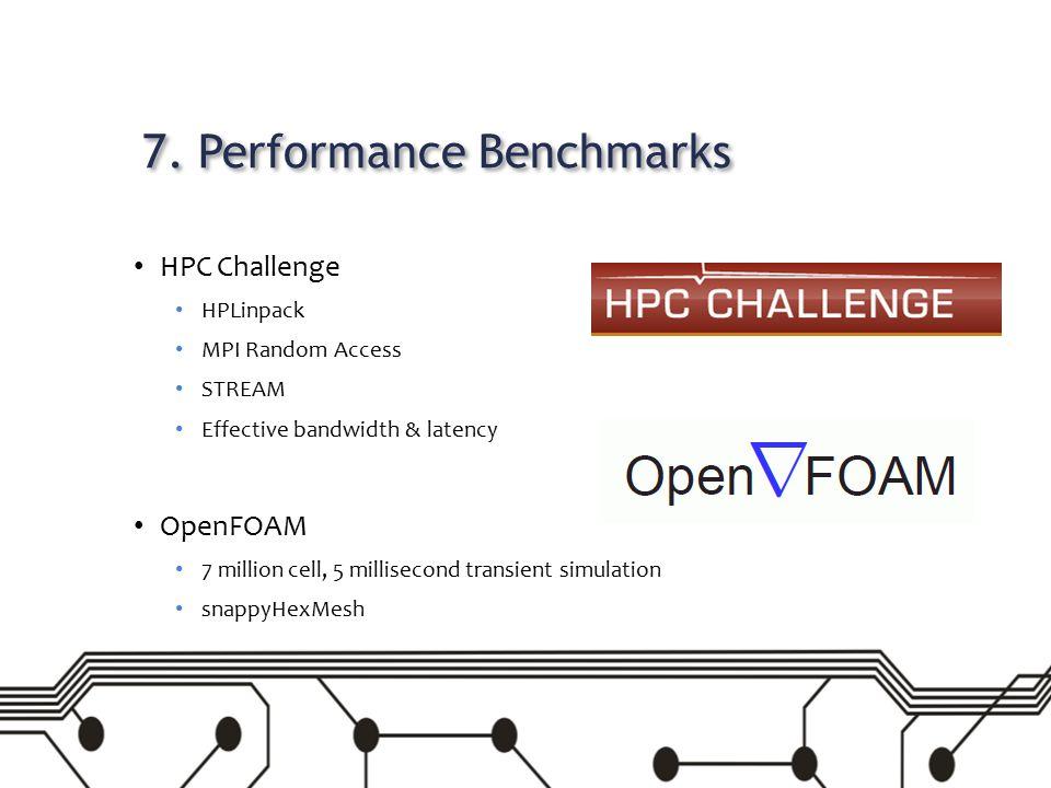 7. Performance Benchmarks HPC Challenge HPLinpack MPI Random Access STREAM Effective bandwidth & latency OpenFOAM 7 million cell, 5 millisecond transi