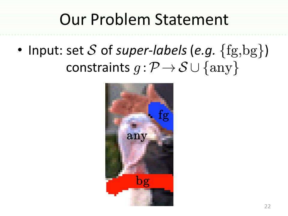 Our Problem Statement Input: set S of super-labels (e.g.