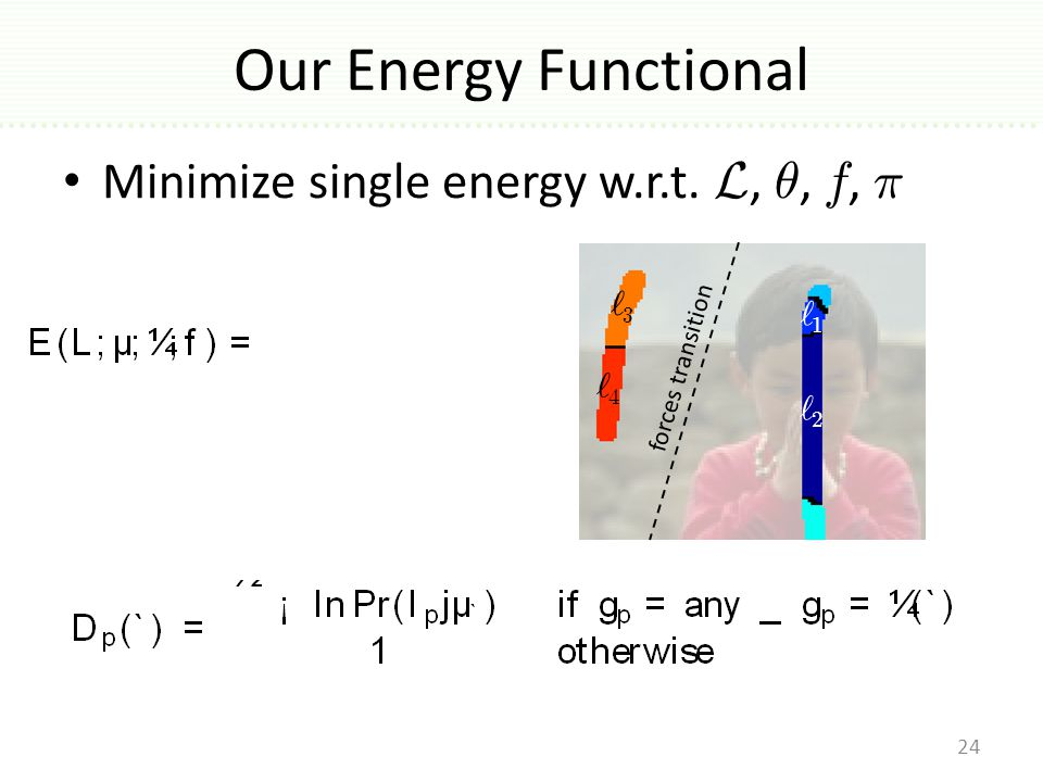 Our Energy Functional 24 Minimize single energy w.r.t.