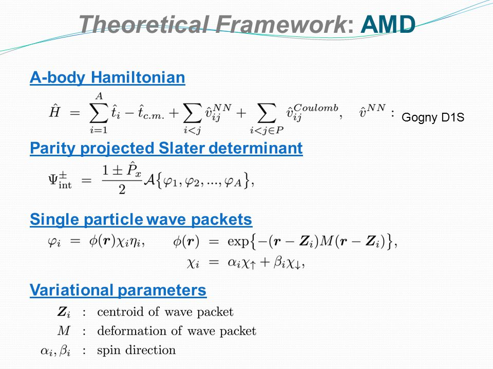 Theoretical Framework: AMD A-body Hamiltonian Parity projected Slater determinant Single particle wave packets Variational parameters Gogny D1S