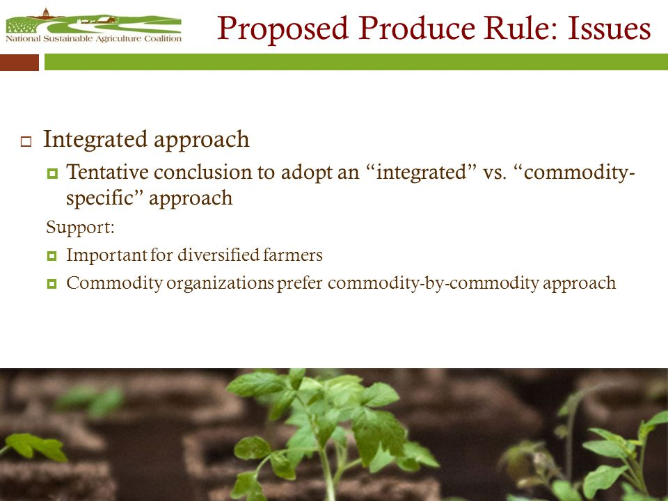 Proposed Produce Rule: Issues  Integrated approach  Tentative conclusion to adopt an integrated vs.