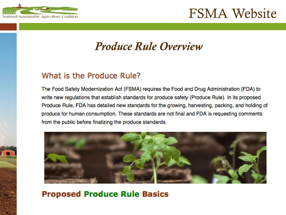 FSMA Website Produce Rule Overview