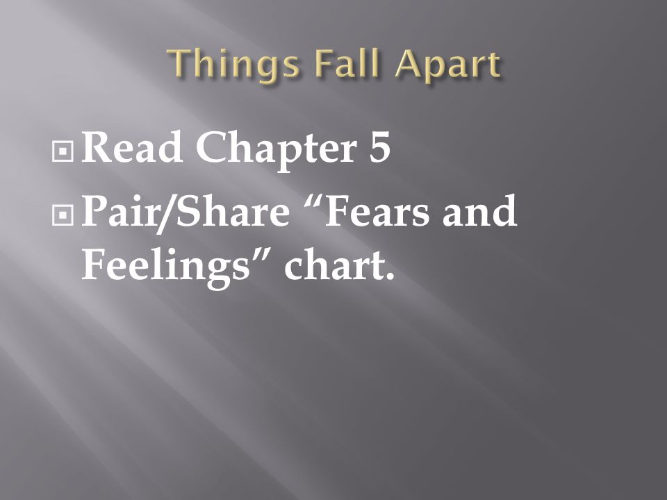  Read Chapter 5  Pair/Share Fears and Feelings chart.