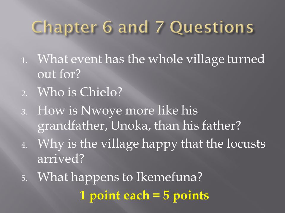 1. What event has the whole village turned out for? 2. Who is Chielo? 3. How is Nwoye more like his grandfather, Unoka, than his father? 4. Why is the